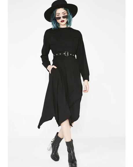 Stitching Asymmetrical Hooded Dress