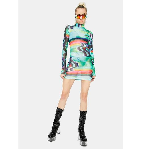 Into The Future Mesh Mini Dress