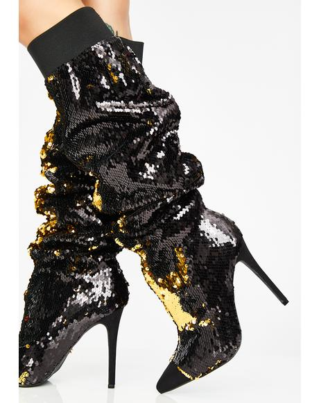 Lavish Living Sequin Boots