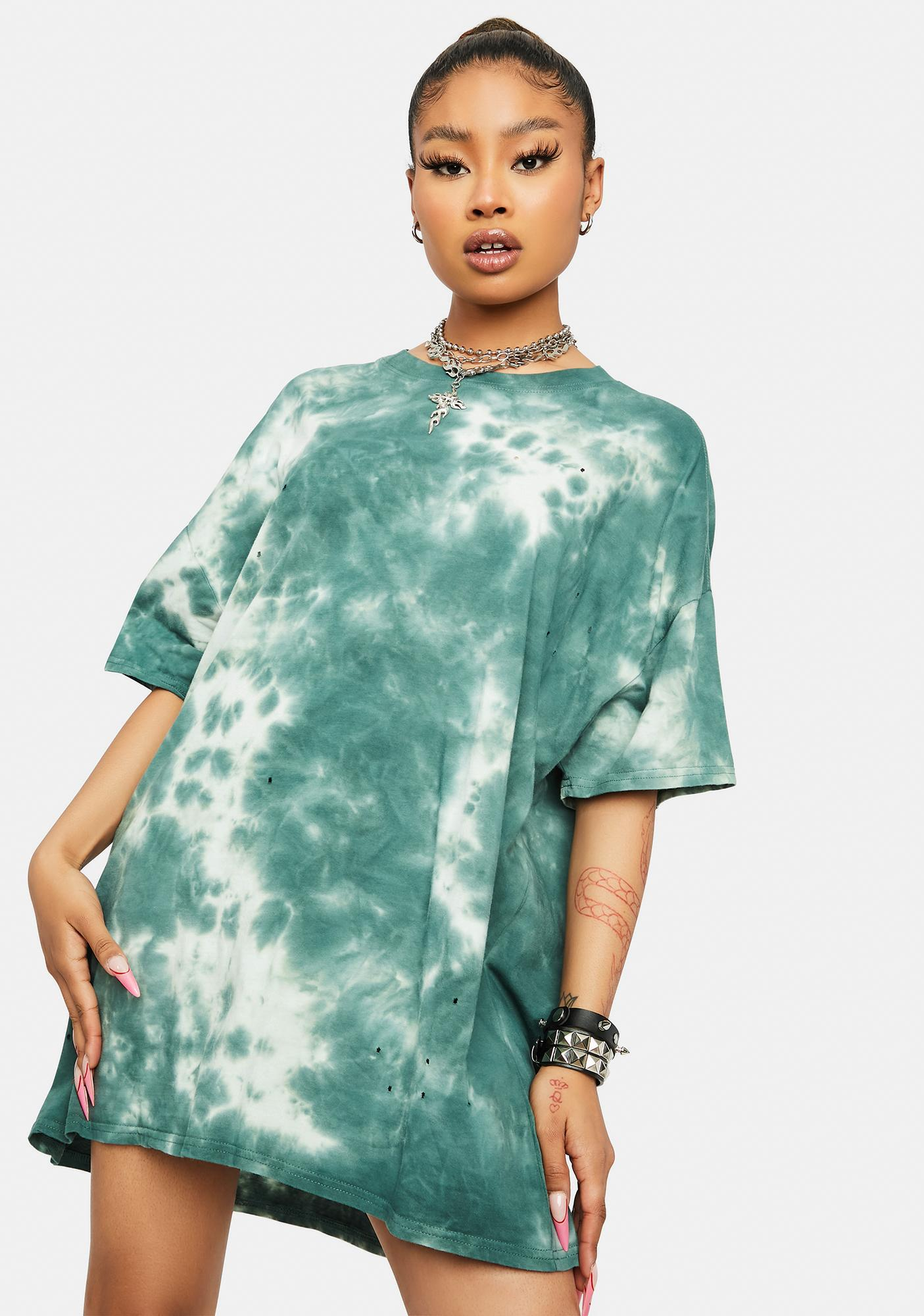 Teal Trippin' Territory Tie Dye Distressed Oversized T- Shirt