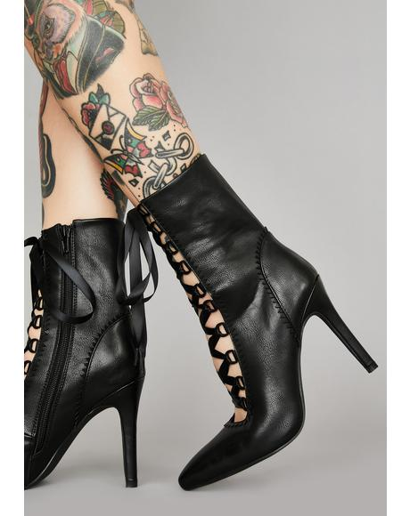Dark Alchemy Lace-Up Booties