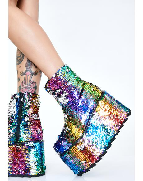 Qomet Rainbow Flip Sequin Platform Boots
