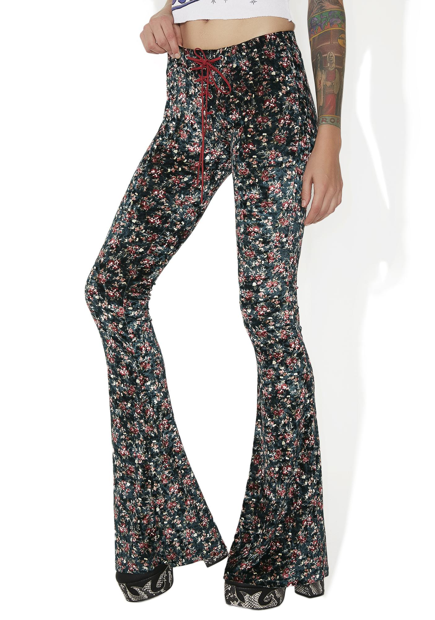 Current Mood Caldonia Velvet Lace-Up Bell Bottoms