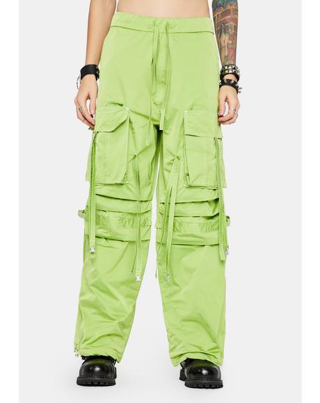 Neon Green Techwear Shuffle Pants