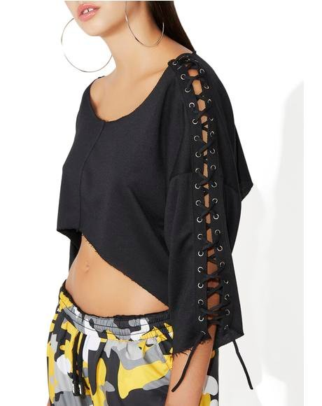 Put In Work Lace-Up Crop Top
