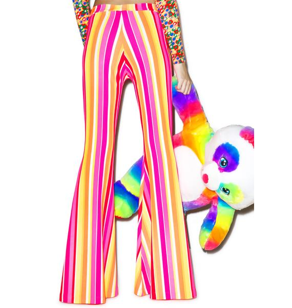 J Valentine Groovy Neon Stripe Bell Bottoms