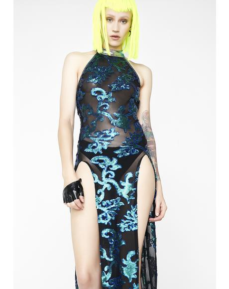 Sequin Mesh Gown