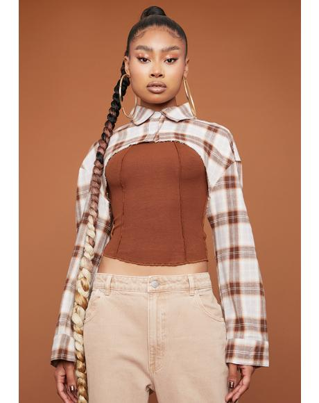 Pecan Put In Work Plaid Shrug Top