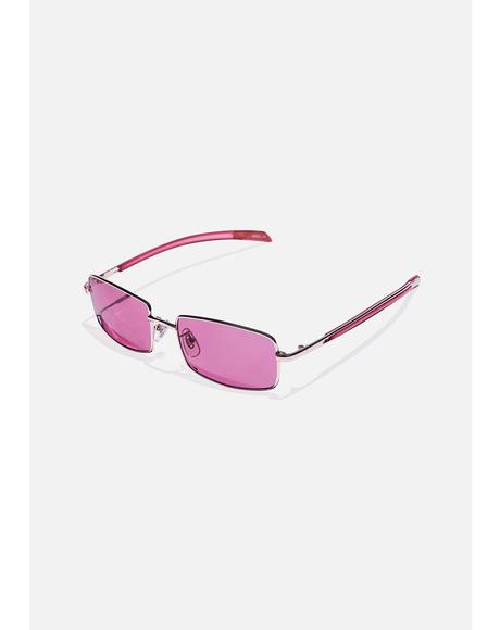 Pink Square Up Tinted Sunglasses