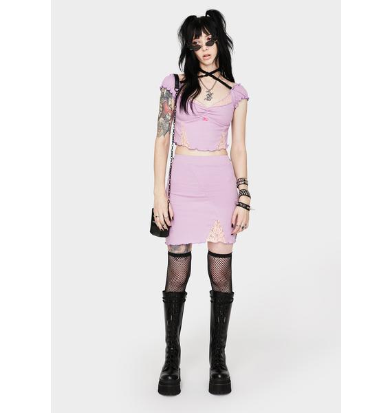 GANGYOUNG Light Purple Saturn Skirt Set