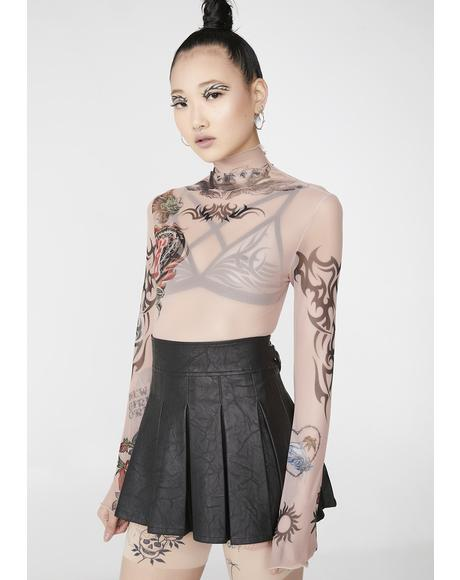 Tattoo Mesh Long Sleeve Top