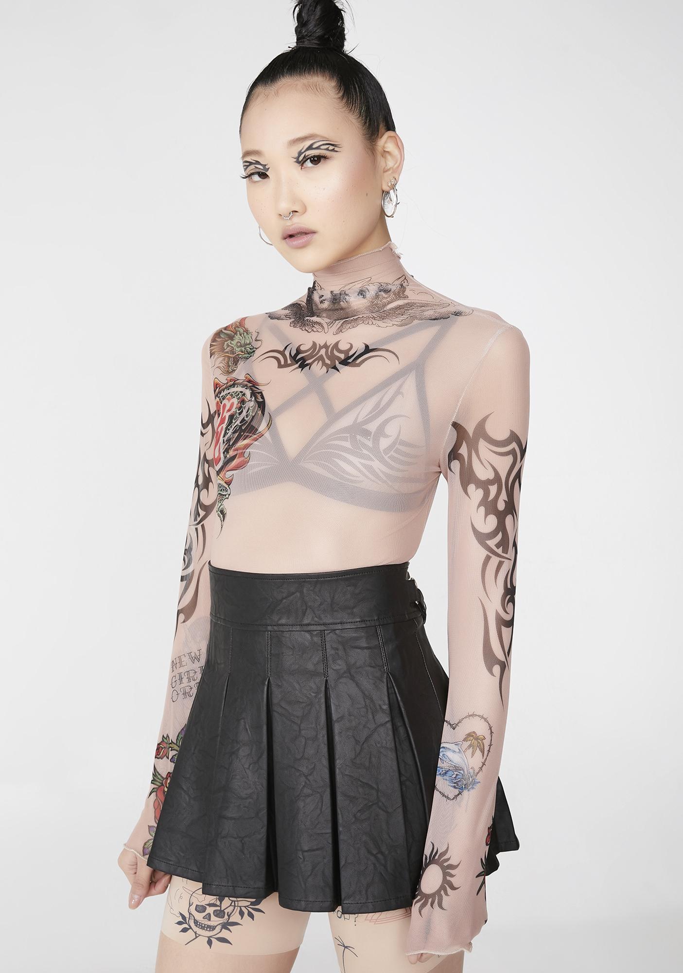 NEW GIRL ORDER Tattoo Mesh Long Sleeve Top