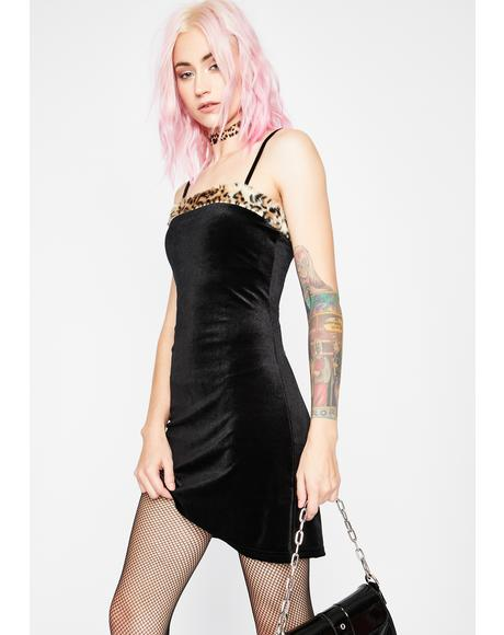 Feline Aristocracy Velvet Dress
