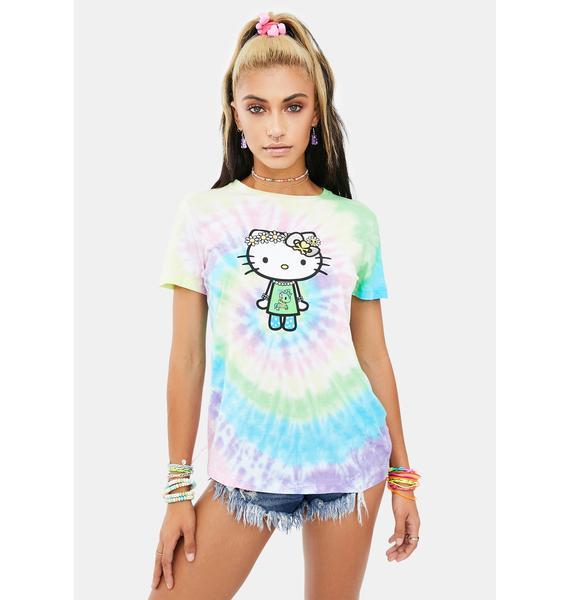 Tokidoki X Hello Kitty Far Out Kitty Tie Dye Tee