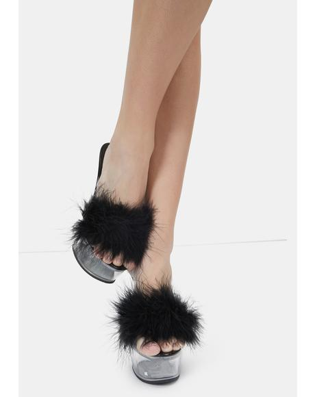 Midnight With My Boo Platform Feather Heels