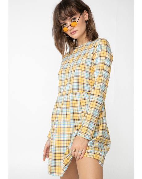 Sunny Plaid Check Print Smock Dress