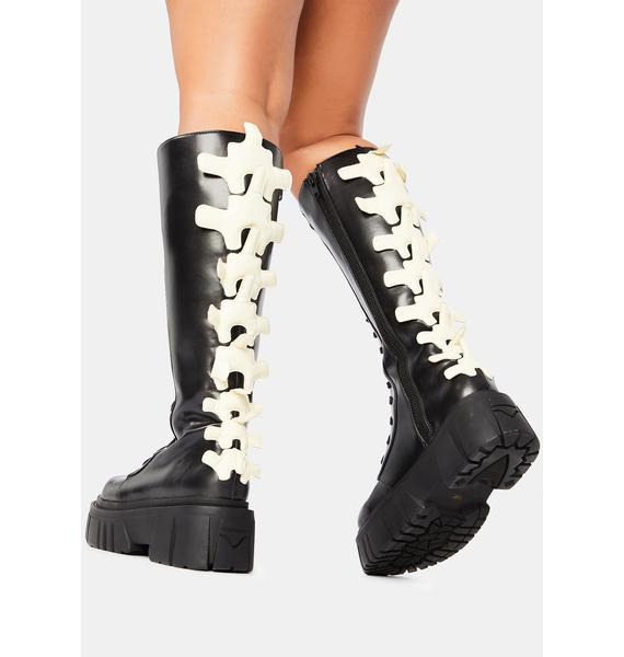 Dolls Kill Back Bone Spine Boots