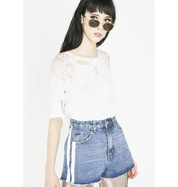 Momokrom White Tape High Waist Shorts