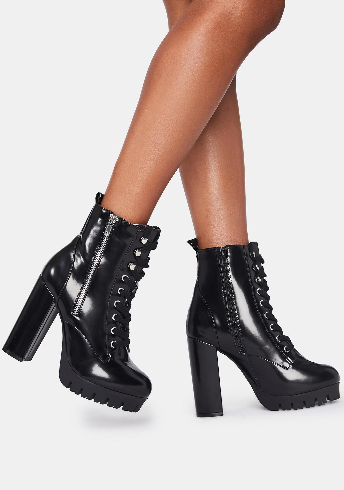 Midnight Partly Rowdy Platform Boots