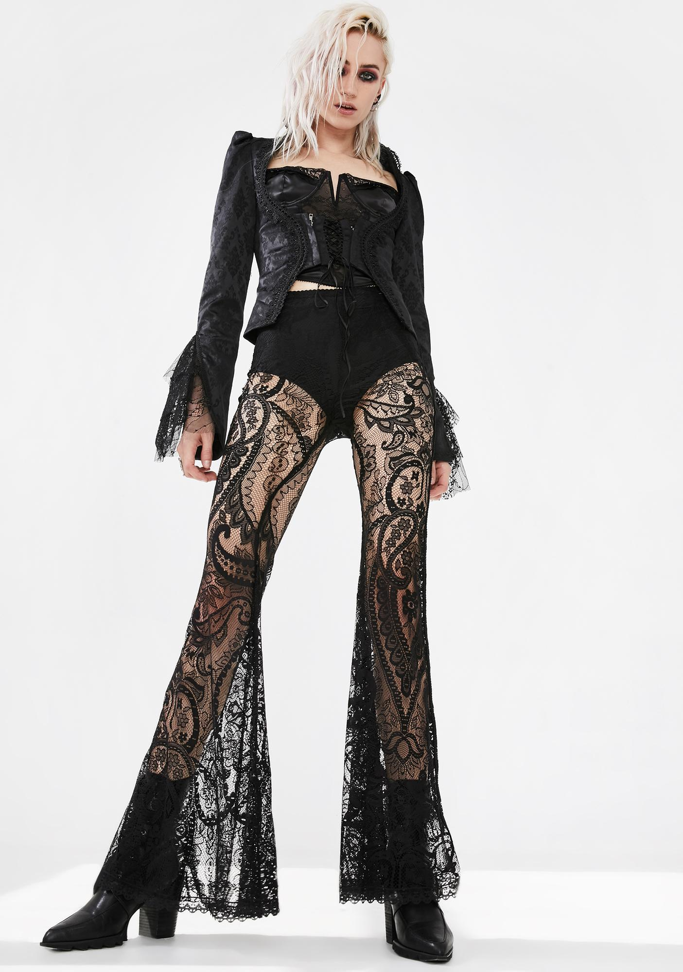 Punk Rave Gothic Paisley Lace Trousers
