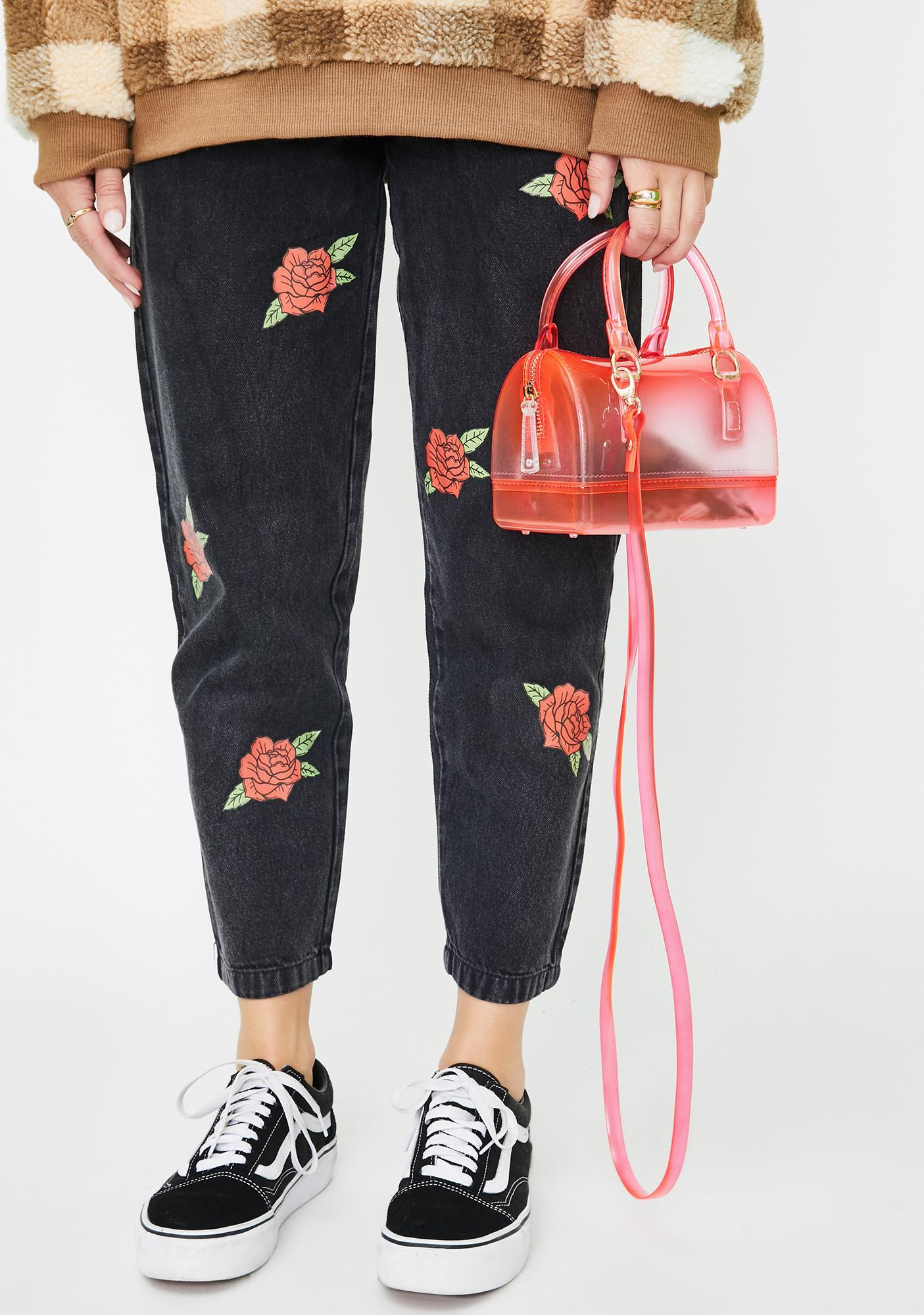 Rose Let 'em Look Transparent Handbag by Dolls Kill