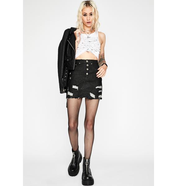 Noir Sucks To Suck Two Tone Skirt