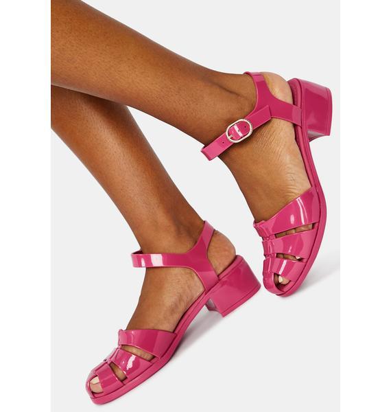 Petite Jolie Pink Bremerton Jelly Sandals