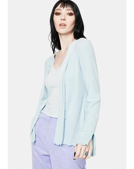 Baby Blue Long Sleeve Jersey Cardigan