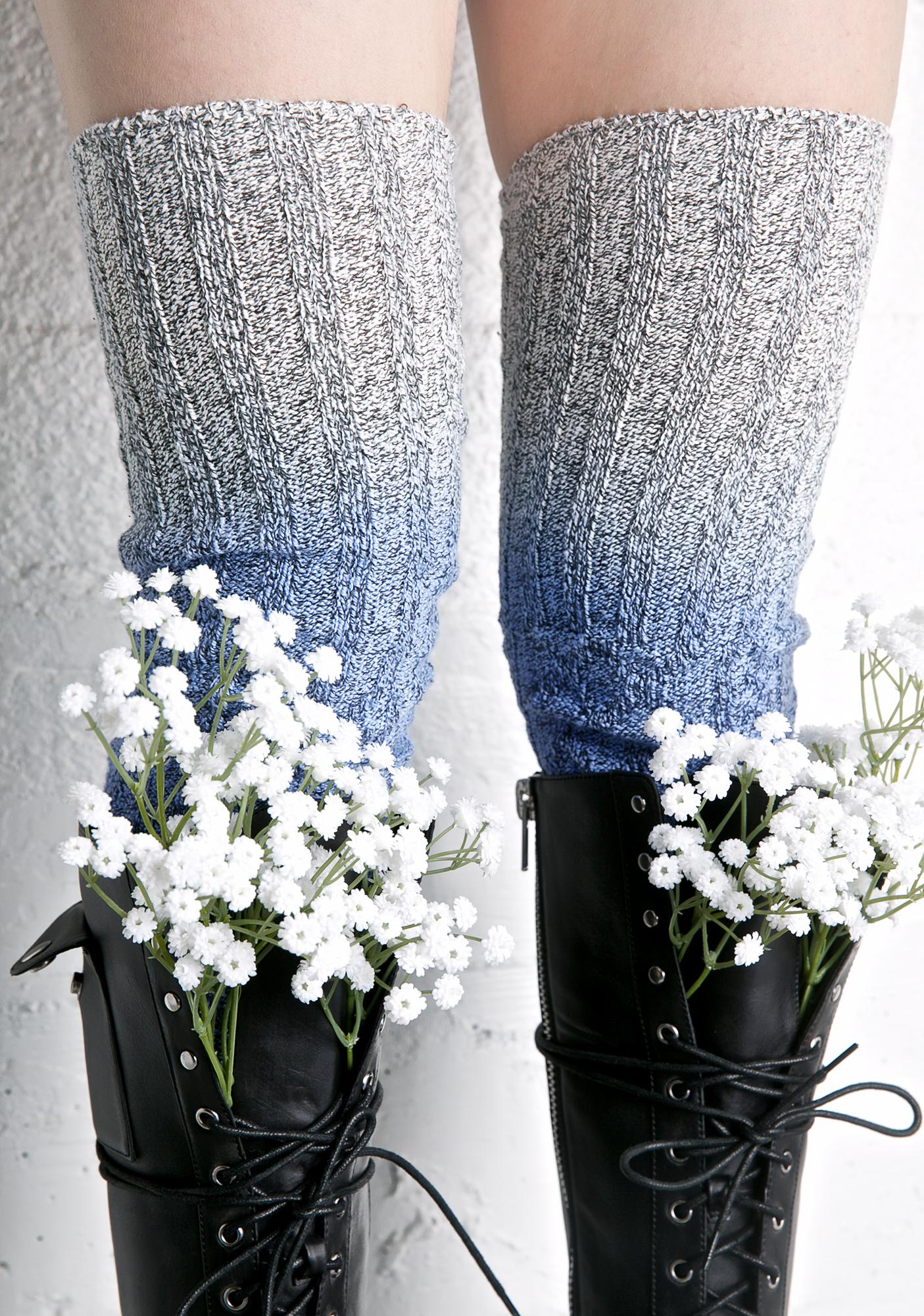 Perfect Blu Thigh High Socks