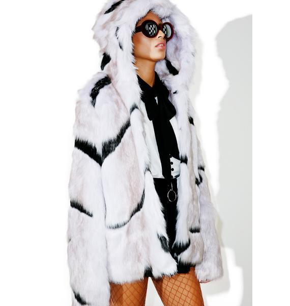 Glamorous Dreamscape Hooded Faux Fur Coat