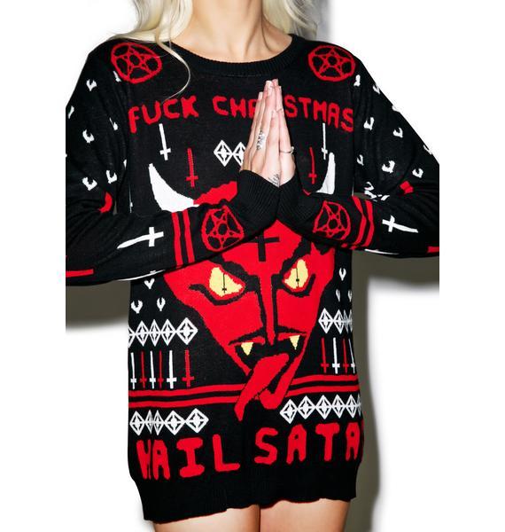 Fuck Christmas Hail Satan Sweater