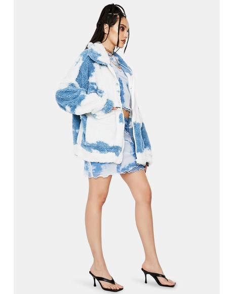 Cloud Print Teddy Fleece Oversized Jacket