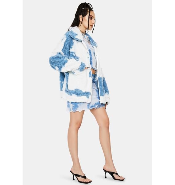 Jaded London Cloud Print Teddy Fleece Oversized Jacket
