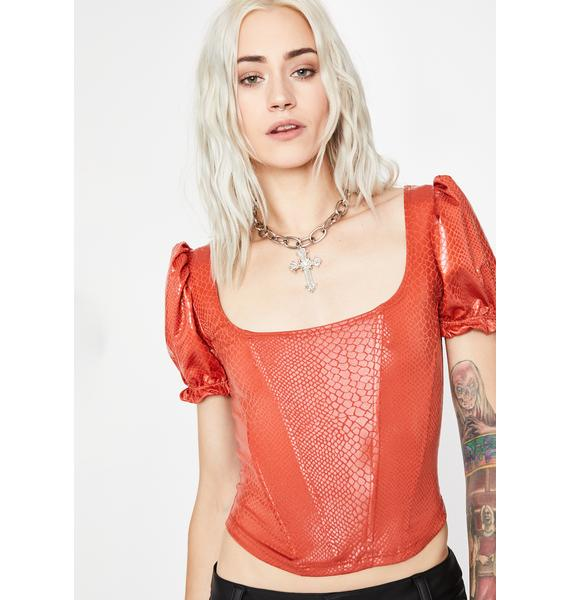 Rust Not Your Toy Corset Blouse