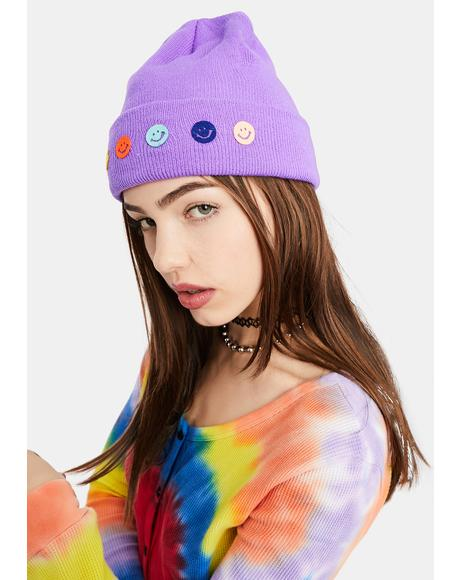 Lilac Choose Happy Knit Beanie