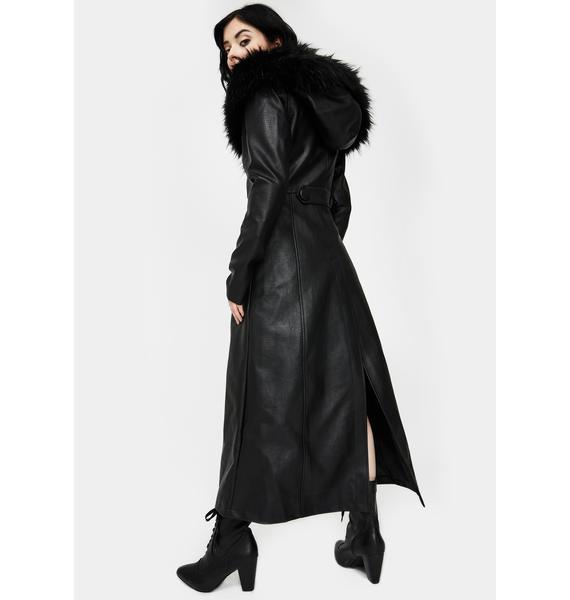 Killstar Liberty Leather Trench Coat