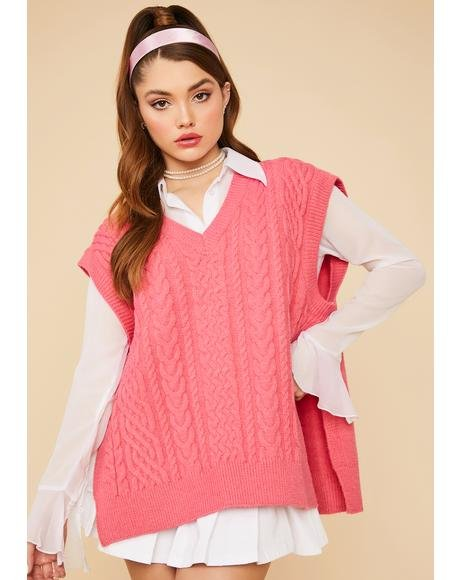 Bubblegum Hit The Books Oversized Sweater Vest