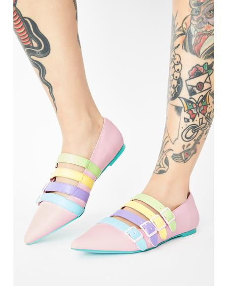 Pastel Coven Buckle Flats