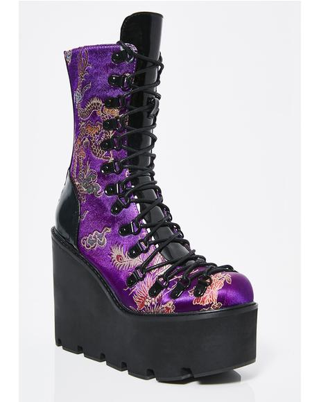 Dynasty Brocade Platform Boots