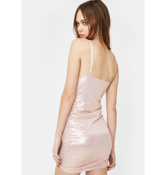 ZEMETA Peachy Metallic Bodycon Dress