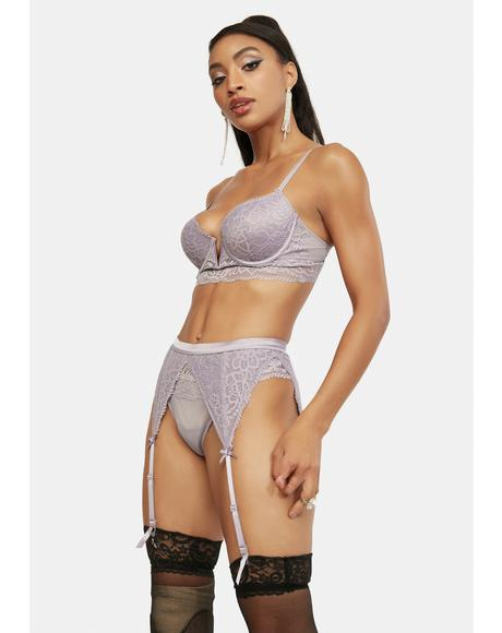 Lilac Eating Out Tonight Lace Garter Lingerie Set