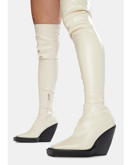 Bone Nix Thigh High Platform Wedge Boots