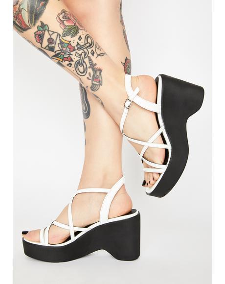 White Patent Gigi Wedge Heels