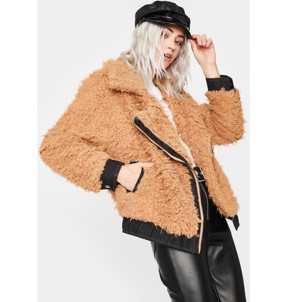 Caramel New Adventure Fuzzy Moto Jacket