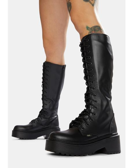 Tulsa Leather Calf-High Boots