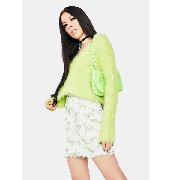 Daisy Street Butterfly Mesh Mini Skirt