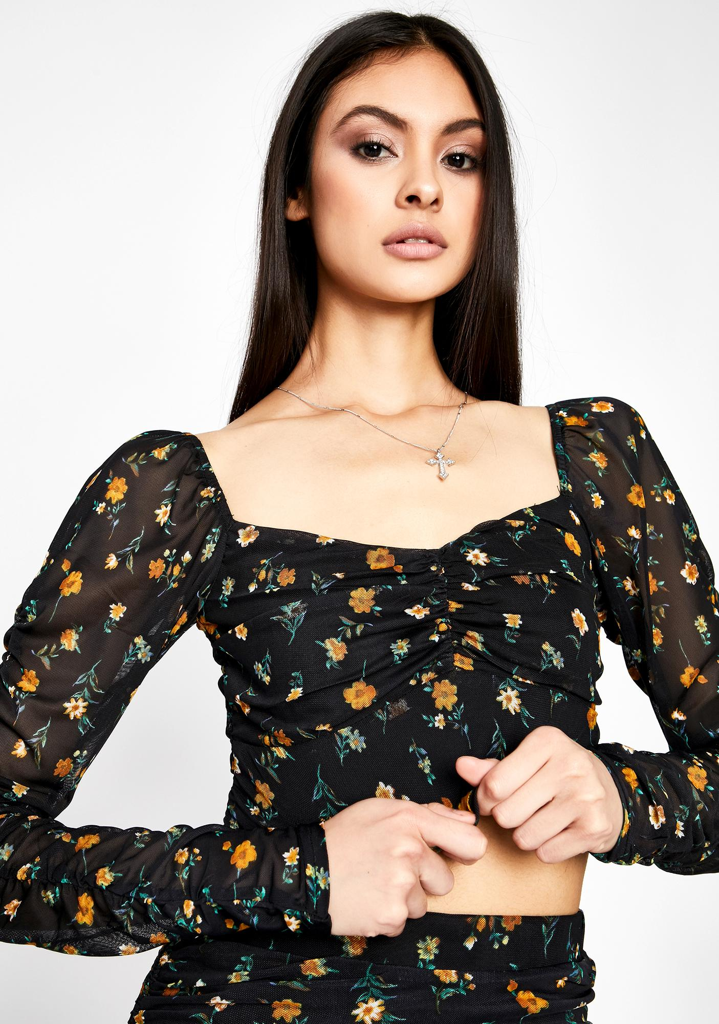 Garden Of Shadows Floral Blouse
