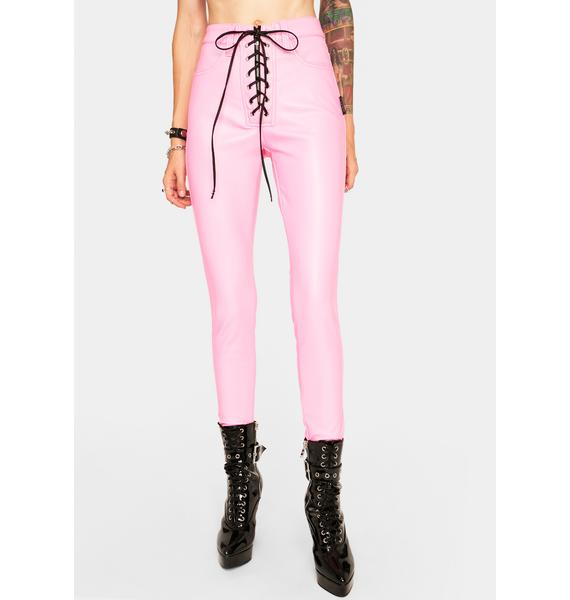 Tripp NYC Pink Lace Up Pants
