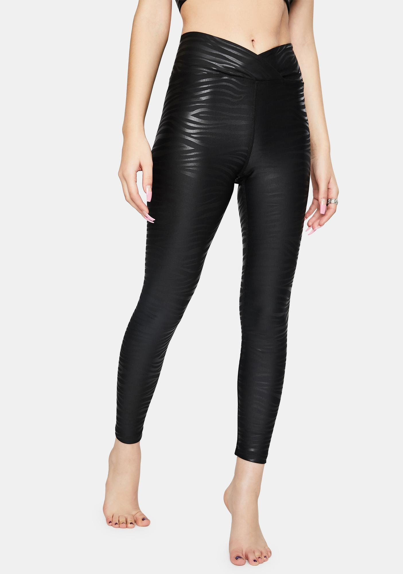 Year Of Ours Black Tiger Foil Veronica Leggings