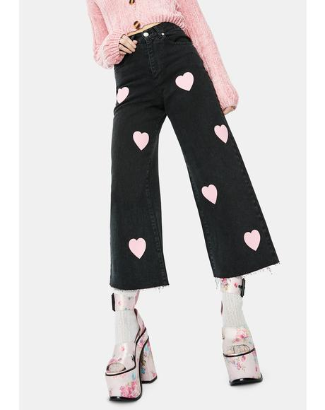 Pink Hearts Skater Jeans